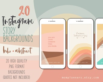 Instagram STORY Template BACKGROUND, Earth Tones Hand drawn illustrations, ABSTRACT Boho style, Terracota Stories Template, Social Media