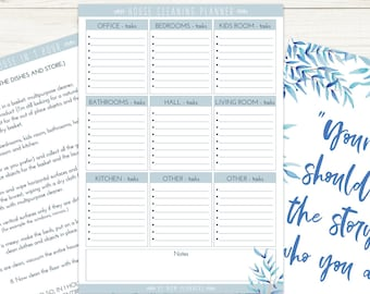 Printable CLEANING PLANNER, Home Organization, To do list, Illustrated planner, Printable watercolor Poster, Tips to clean, Quote poster
