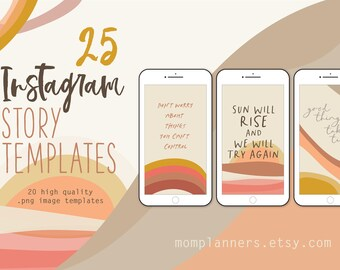 Instagram STORY Template BACKGROUND, Earth Tones, Hand drawn illustrations, ABSTRACT Boho style, Terracota, Stories Template, Social Media