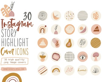Instagram STORY HIGHLIGHT COVER Icons, Abstract Hand drawn illustrations, Boho style ,Social Media templates, Hipster,