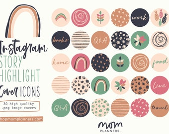 Instagram STORY HIGHLIGHT COVER Icons,  Hand drawn illustrations, Highlights, Boho style, Social Media templates, Earthy colors