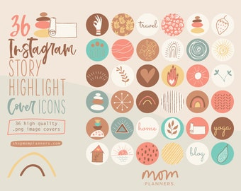 Instagram STORY HIGHLIGHT COVER Icons,  Hand drawn illustrations, Boho style ,Social Media templates, Hipster,