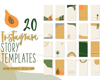 Instagram STORY Template BACKGROUND, Hand drawn illustrations, Boho Summer style, Story Template, Social Media templates, Marketing Template