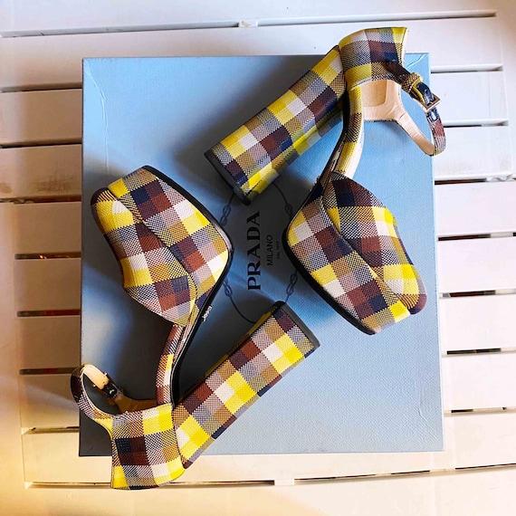 PRADA CHECK PLATFORM sandals