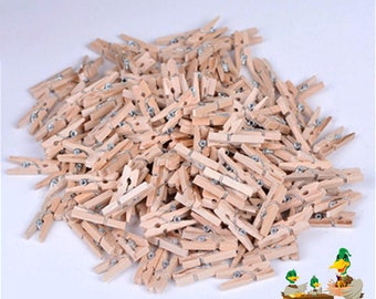 Craft Pegs Mini Wooden x 75 Pack 2.5cm Pink Natural pale pink or off white