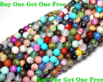 8MM Natural Mixed Stone Beads,15 inches per strand,Gemstone Smooth Round Loose beads wholesale supply,Diy beads