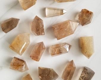 Rutilated Quartz Point, Quartz Rutile, Crystal Point, Clear quartz with Rutile, Gold Rutile, Bronze Rutile, Hematite Inclusions