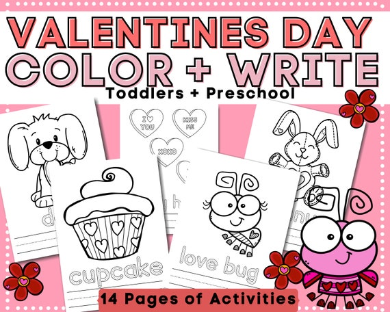 Valentine's Day Toddler  Preschool Coloring Tracing and
