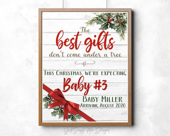 Christmas Pregnancy Announcement Baby 3 Sign Rustic