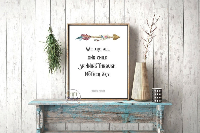 Earth Lovers We Are One Nature Quote Art Poster Spiritual image 0
