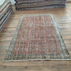 Muted Red,Beige,Caramel Area Rug,Oushak rug 3.94/'/'x 6.86/'/' boho handmade 4x7 distressed rug,aztec rug,anatolian rug,vintage rug,kitchenrug