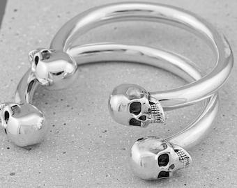 Beldiamo 16 g 925 Sterling Silver Sugar Skull Bangle  Cuff  Bracelet Biker