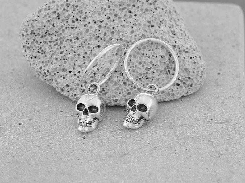 Solid 925 Sterling Silver Mens Skull Hoop Earrings Biker Rock image 0