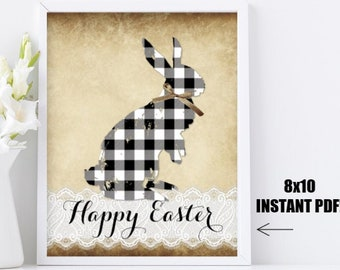 Easter Printable Wall Art Picture Sign - Rustic Happy Easter Bunny Rabbit Buffalo Plaid Check Black and white Vintage Instant Download Decor