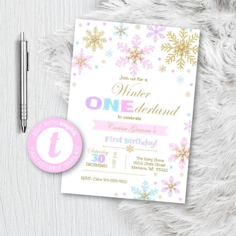 Hiver Onederland Birthday Invitation 1er anniversaire   Etsy