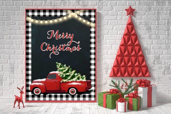 Buffalo Check Christmas Picture Buffalo Plaid Holiday Decor Printable Wall Art Merry Christmas Red Truck Instant Download 8x10 By Popp Paperie Catch My Party