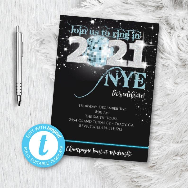 New Years Eve Invitation NYE Party Invitation Blue 2021 | Etsy