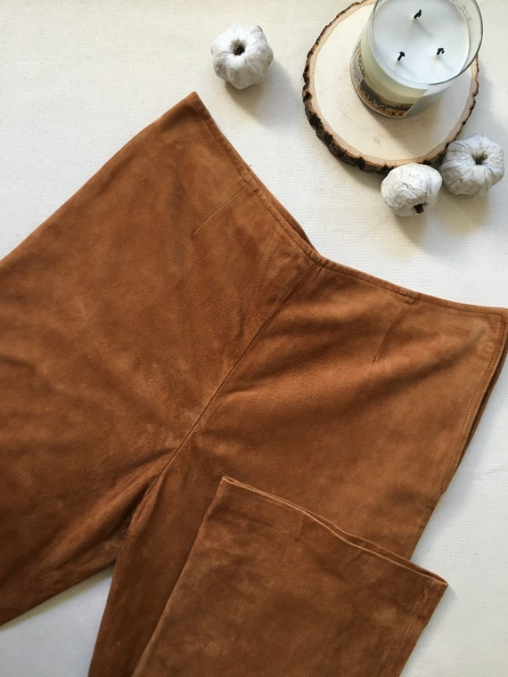 Vintage Genuine Suede Leather Danier tan pants