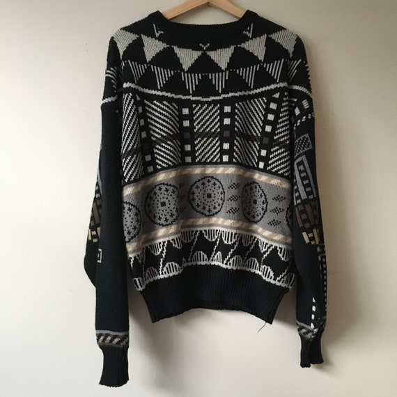 Vintage Abstract Neutral Crewneck Knit Sweater