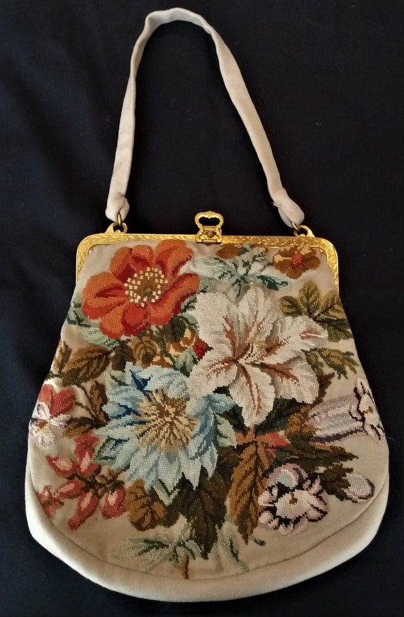 Antique french tapestry bag