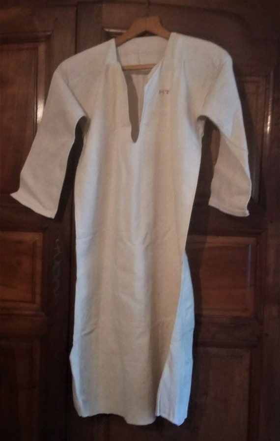 Antique french night shirt linen