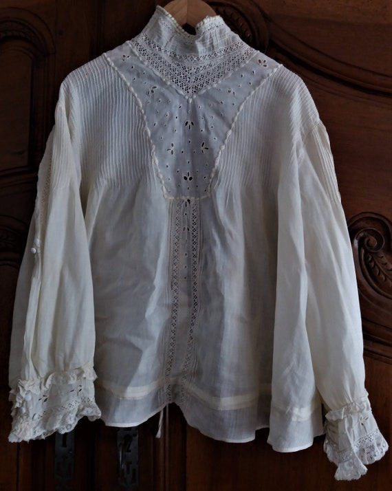 Antique french Edwardian Victorian blouse
