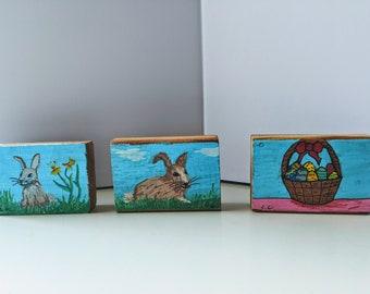 Small hand painted Easter cedar blocks