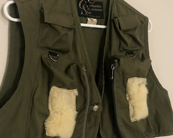 1970s Columbia Sportswear Co. Hiking Fishing Pockets Outdoors Vest, Green Small
