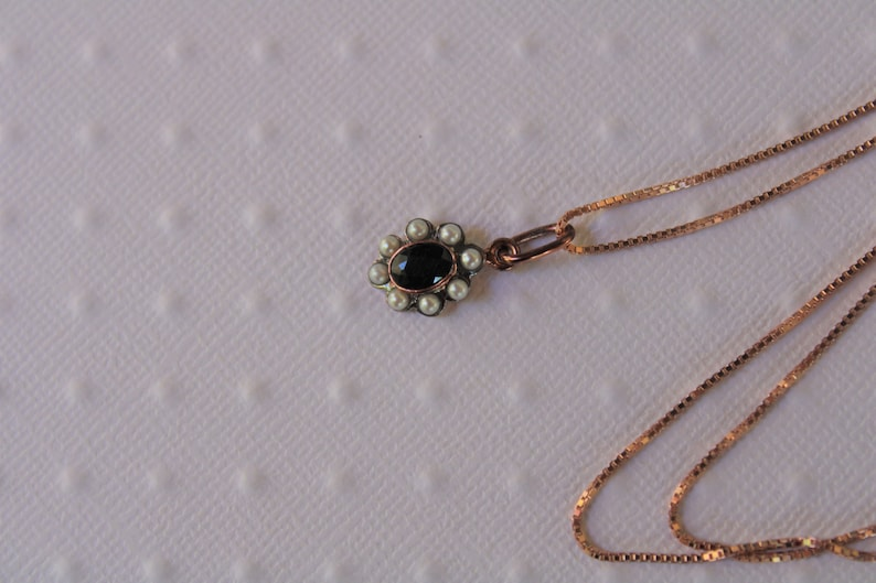 Silver Row Or Pink Pendant Daisy Hanging Sapphire Pearls Old Style Gift for It Christmas Gift