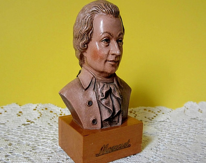 Composer Wolfgang Amadeus Mozart Collectible Home Decor Hand Carved Vintage Anri Toriart Wood Figurine Bust Made in Italy Gift