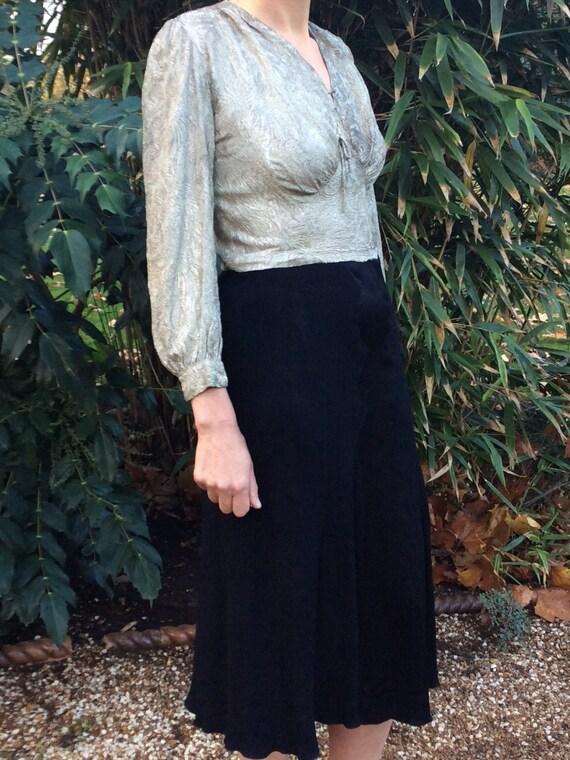 Vintage 1930s crepe, lame,  bias cut dress. Lame d