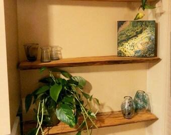 "Live edge floating shelf - 6"" deep - Handmade - No bracket required"