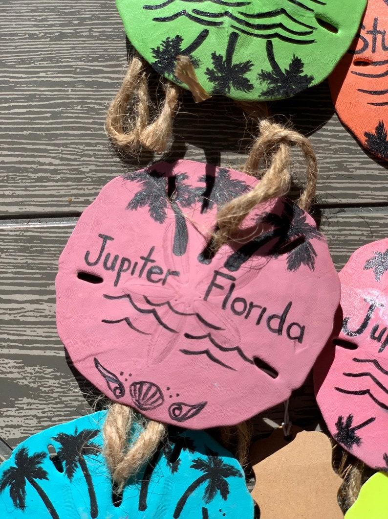 Jupiter Florida Seashell Rearview Mirror Charm Painted Sand dollar Art Christmas ornament