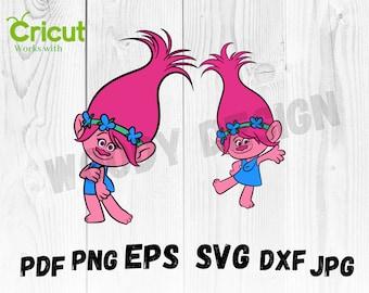 SVG Poppy Trolls Poppy Vector Layered Cut File Silhouette Cameo Cricut Design Template Stencil Vinyl Decal