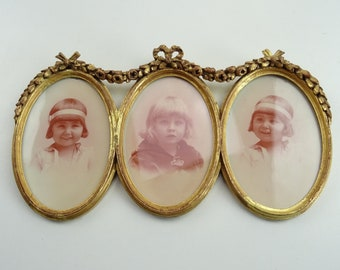LOUIS-XVI Bilderrahmen Fotorahmen Bild Oval Rahmen Rot Gold Holz Deko Stil Antik