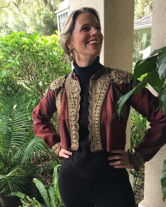 Wine Colored Antique Ottoman Military Waist Jacket