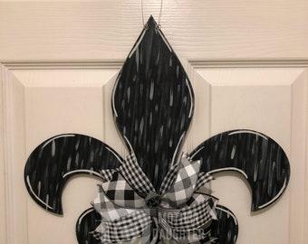 Rustic White Washed Fleur De Lis Hand Painted Wooden Door Hanger
