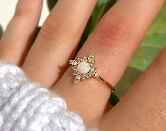 Opal Ring - Dainty Opal Ring - Opal Jewelry - Opal Star Ring - Opal Stacking Ring - Engagement - Celestial Ring - Layer - Trendy Jewelry