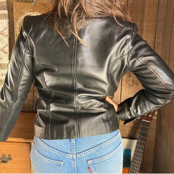 90s Black Leather Jacket - image 2