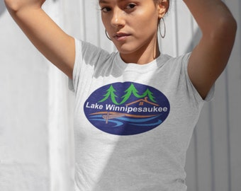 Gift for Her Summer Vacation Lake Winnipesaukee: Five Star Review Unisex Made in the USA Tee Gift for Him Lake Lover New Hampshire