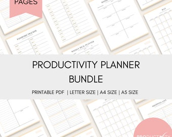 Productivity Planner | Bundle | Happy Planner | Planner Insert | Organization | Daily | Weekly | Monthly | Yearly |