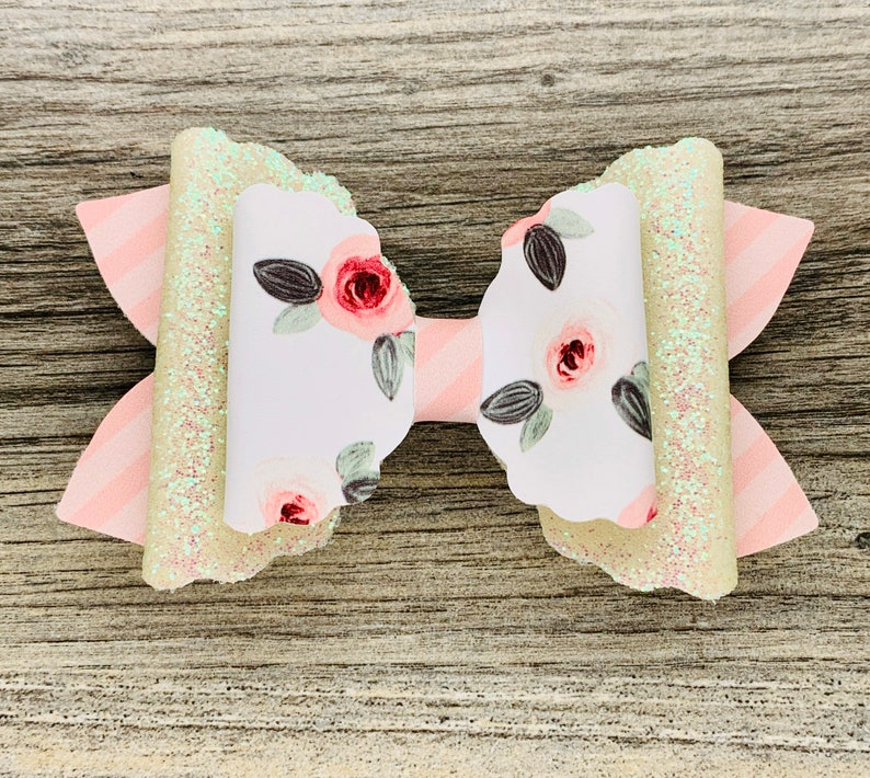 Spring Mother\u2019s Day Floral Hair Bow Pink rose with pink stripes