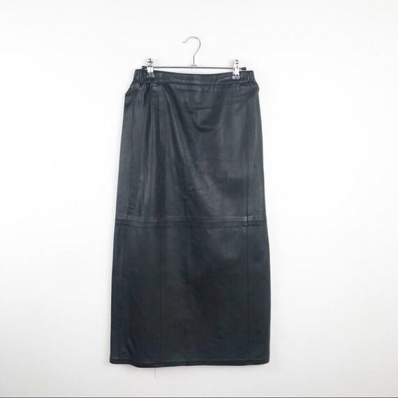 Vintage 1990's leather midi skirt