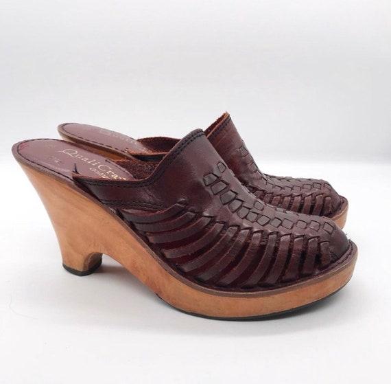Vintage 1970's leather & wooden clogs bohemian vog