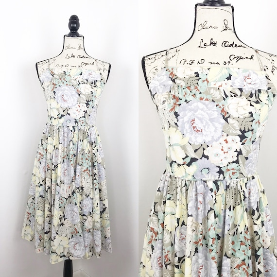 Couch Floral midi dress vintage 80's strappy back