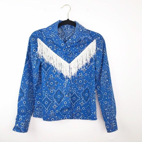 Vintage 1970's cowgirl paisley fringe blouse