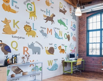 Animal ABC vinyl mural / Peel and stick animal alphabet wallpaper / Painted animal alphabet photo mural