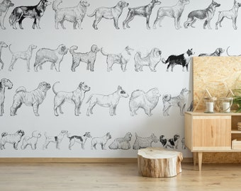 Dog breed removable vinyl mural / Peel and stick dog wallpaper / Dog mural print
