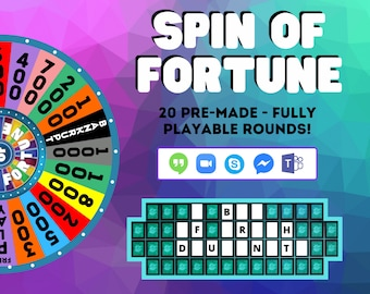 Virtual ScreenShare Games - Wheel Of Fortune - Zoom Games - Party Games - Virtual Games Night - Classic Games - Fun Family Games - Download