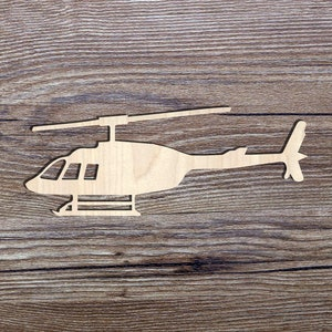 Shape Ornament Art Projects Craft Decoration Gift Decoupage MG000218 Wooden Helicopter 7cm